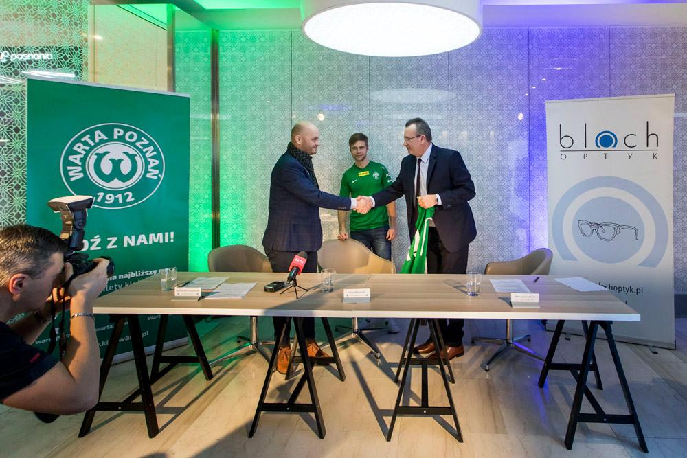 Podpisanie umowy sponsorskiej między Wartą Poznań S.A. i firmą Bloch Optyk