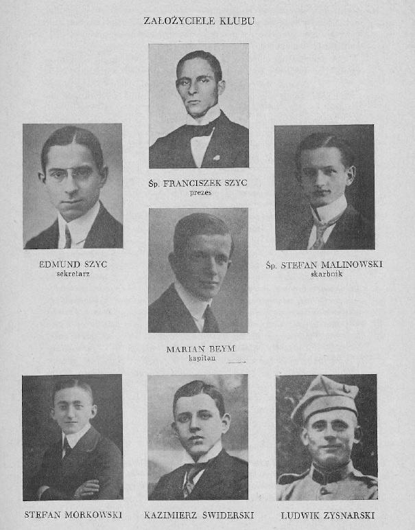 Założyciele Warty Poznań w broszurze wydanej z okazji 25-lecia istnienia klubu