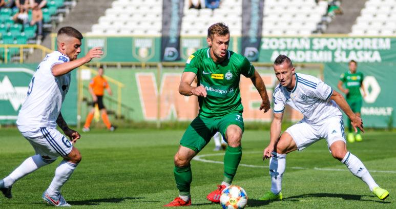Michał Grobelny (Warta Poznań) w meczu ze Śląskiem Wrocław
