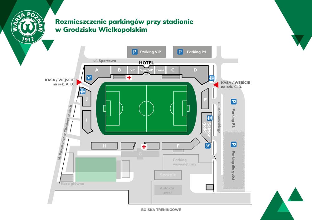 Warta Poznań gra w Grodzisku Wlkp. - plan stadionu