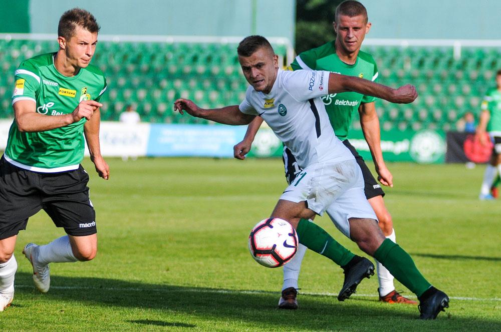 Michał Jakóbowski (Warta Poznań) w meczu z GKS Bełchatów