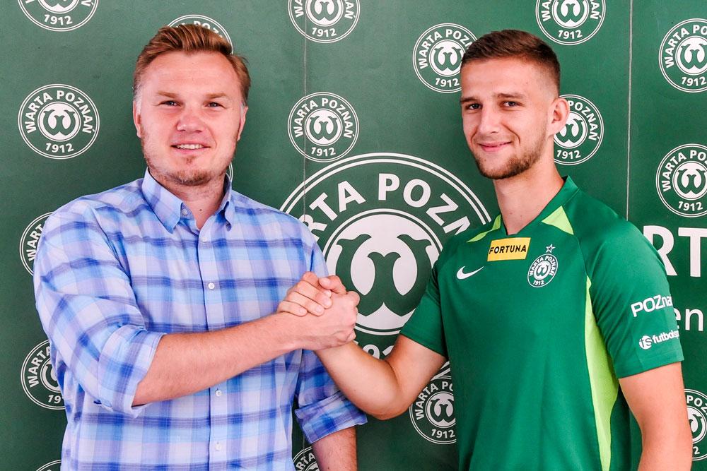 Krzysztof Kiklaisz i dyrektor sportowy Warty Poznań Robert Graf