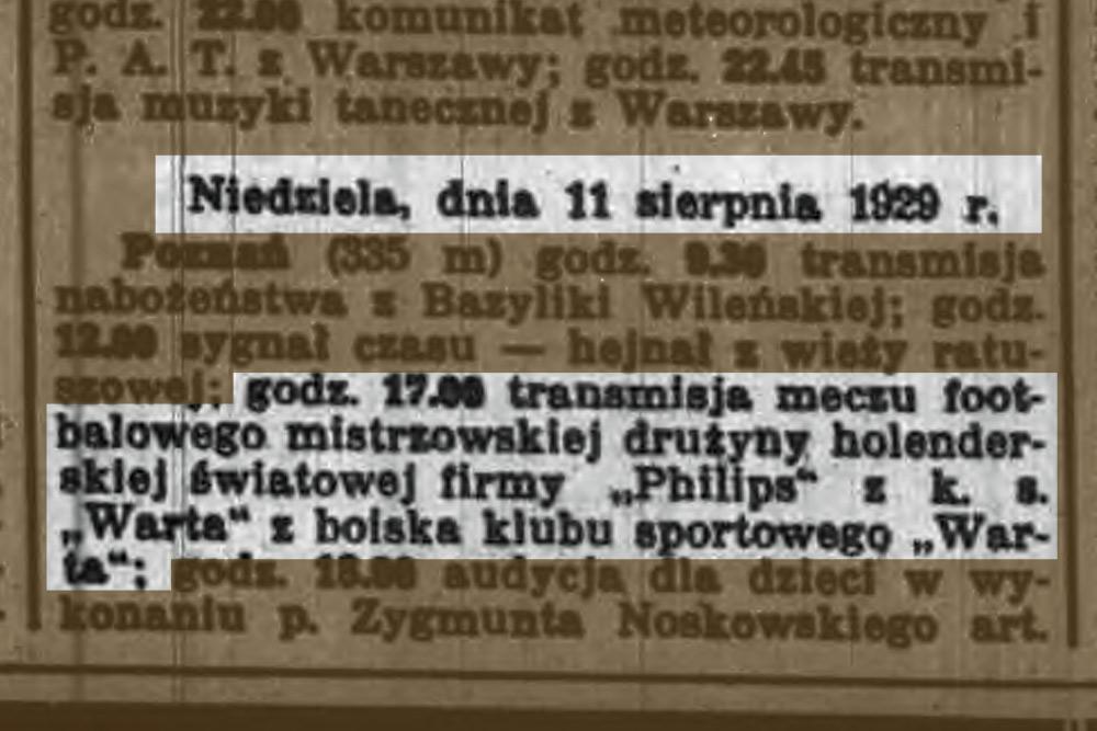 Program Radia Poznańskiego na 11 sierpnia 1929 roku