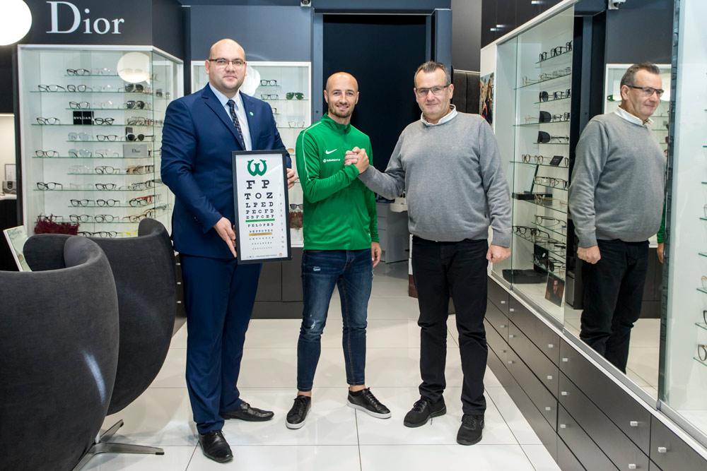 Bloch Optyk w Klubie Biznesu Warty Poznań. Wieńczysław Bloch, Marcin Janicki, Łukasz Trałka
