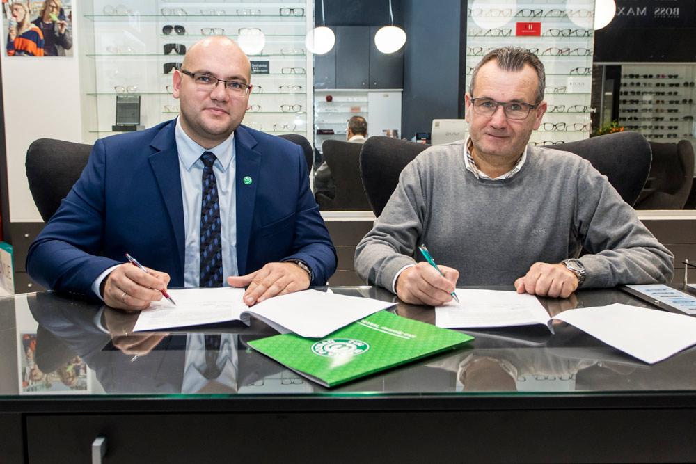 Bloch Optyk w Klubie Biznesu Warty Poznań. Wieńczysław Bloch, Marcin Janicki; fot. Adam Ciereszko