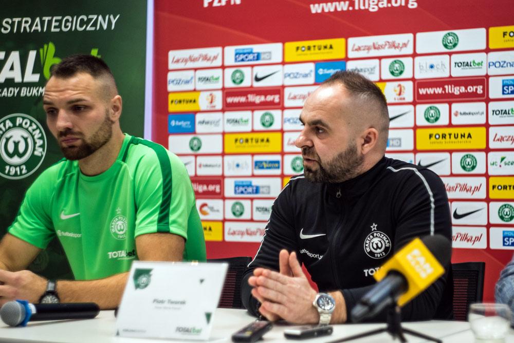 Konferencja Warty Poznań przed rundą wiosenną Fortuna 1 Ligi. Trener Piotr Tworek