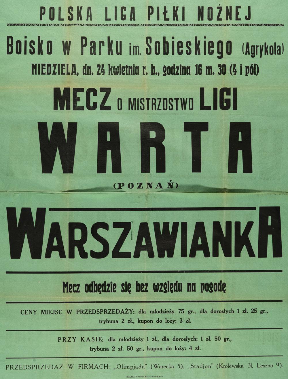 Plakat przed meczem Warszawianka - Warta Poznań