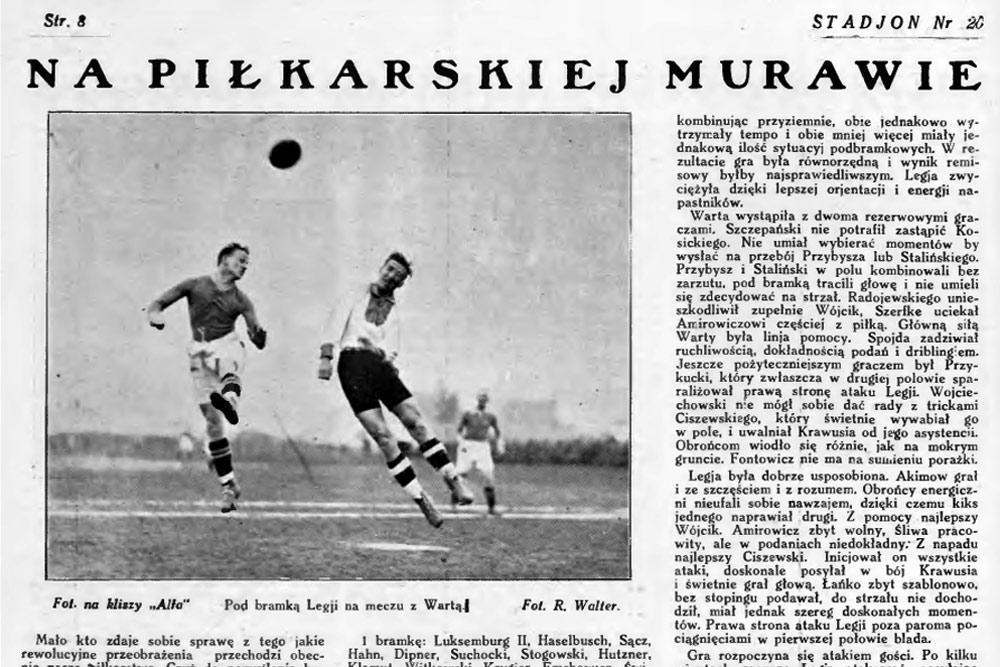 Sezon 1927. Zdjęcie z meczu Warty Poznań z Legią Warszawa
