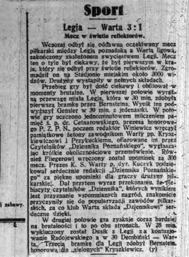 Relacja z meczu Warty Poznań z Legią Poznań w Dzienniku Poznańskim