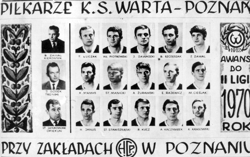 Zespół Warty Poznań, który wywalczył w 1970 roku awans do II ligi