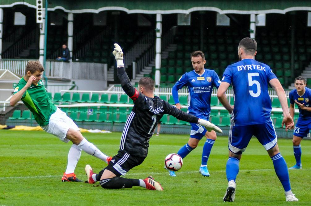 Warta Poznań - Miedź Legnica 2:1. Adrian Laskowski strzela gola na 2:0