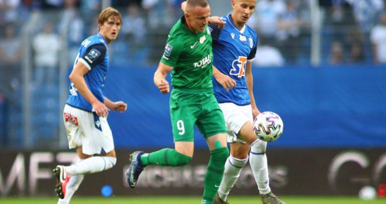 Mateusz Kuzimski (Warta Poznań) w meczu z Lechem Poznań