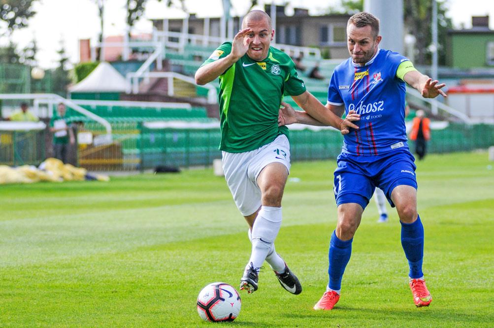 Jakub Kuzdra (Warta Poznań) w meczu z Podbeskidziem Bielsko-Biała