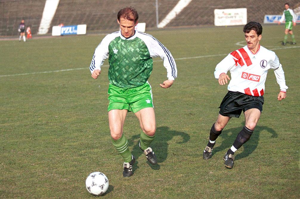 Czesław Jakołcewicz (Warta Poznań) i Leszek Pisz (Legia Warszawa)