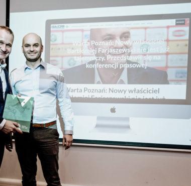 Właściciel Warty Poznań, Bartłomiej Farjaszewski i zastępca prezydenta Poznania, Jędrzej Solarski