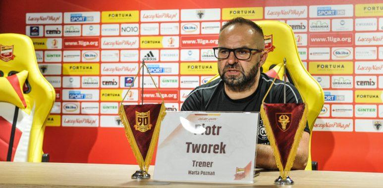 Chojniczanka Chojnice - Warta Poznań 1:2. Trener Piotr Tworek