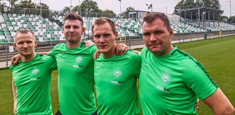Trenerzy Akademii Warty Poznań: Daniel Ledzion, Piotr Mydlikowski, Łukasz Nowak, Michał Gościniak