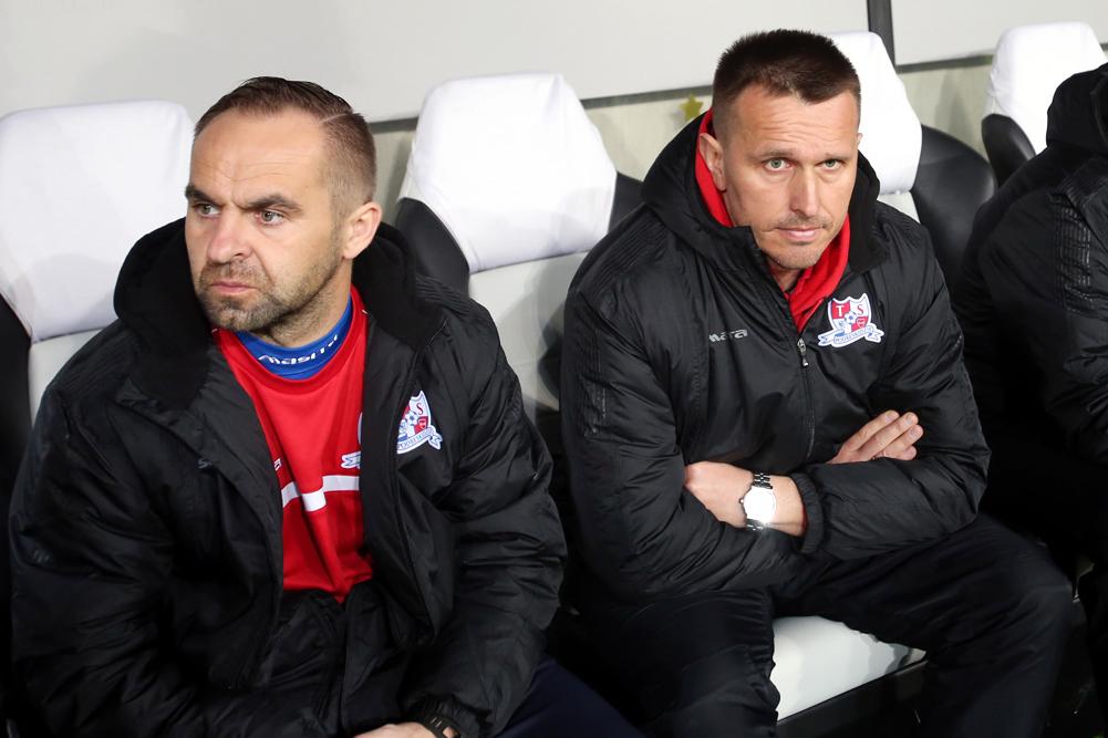 Trener Piotr Tworek i Leszek Ojrzyński z czasów wspólnej pracy w Podbeskidziu Bielsko-Biała