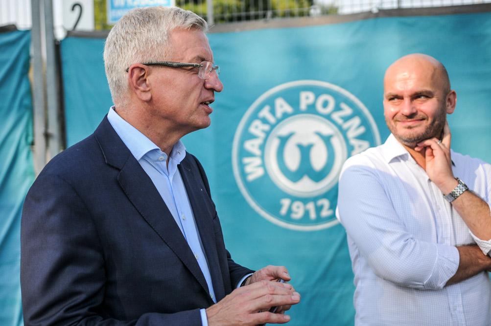 Prezydent Jacek Jaśkowiak i właściciel Warty Poznań, Bartłomiej Farjaszewski