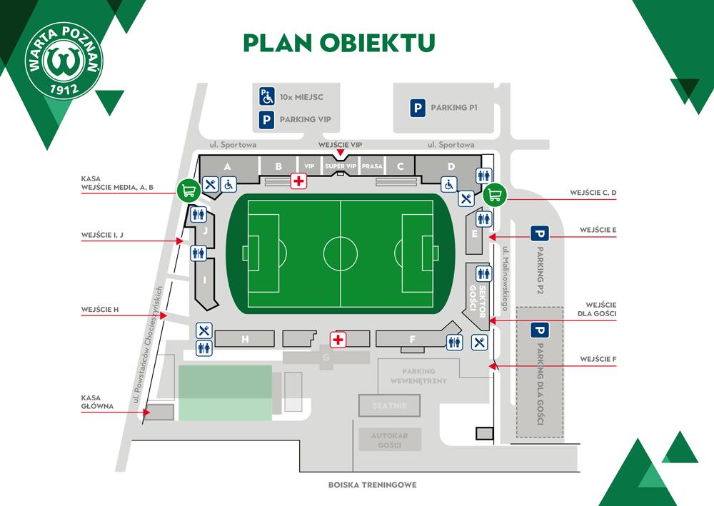Plan stadionu w Grodzisku Wlkp. Warta Poznań